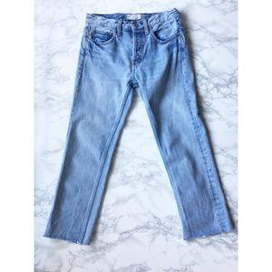 Free People Raw Hem Boyfriend Jeans Light Wash